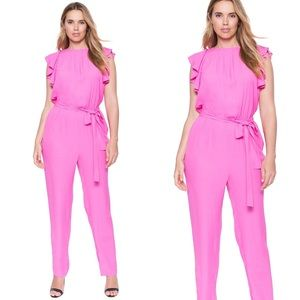 Eloquii Pink Ruffle Sleeve Belted Jumpsuit